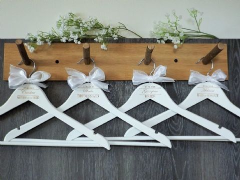 Personalised White Wooden Wedding Hangers Set of 7 with Bow (D2)